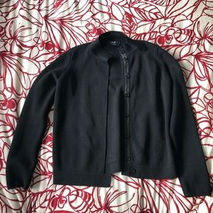 MaxMara Black Wool & Leather Button Front Sweater